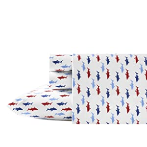 Nautica Costazul Cotton Percale Sheet Set, Twin, Blue/Red