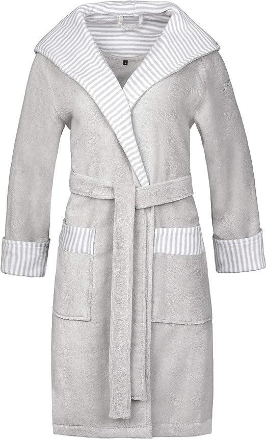 Esprit - Albornoz para hombre con diseño de rayas (100% algodón), 100 % algodón, gris, XS: Amazon.es: Hogar