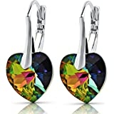 Premium Earrings with Swarovski Heart Crystals 925 Sterling Silver Or Silver Plated Gift for Women and Girls Gift Box Birthday Christmas Anniversary Mother's Day