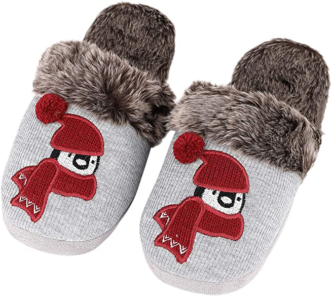 Womens Winter Slippers Indoor Outdoor Mules Plush Lined Warm House Shoes Size