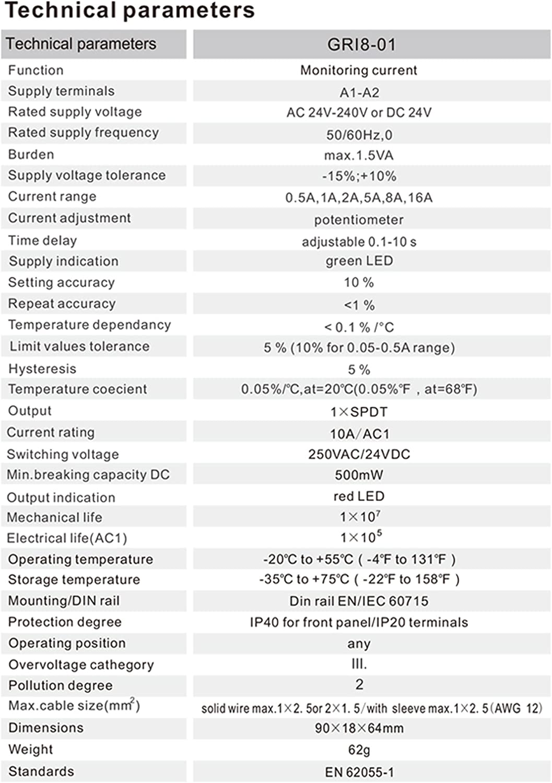 GRI8-01//16,AC24V~240V,DC24V GAEYAELE GRI8-01 Current Monitoring Relay Current Range 8A 16A AC24V-240V DC24V Overcurrent Protection Relay