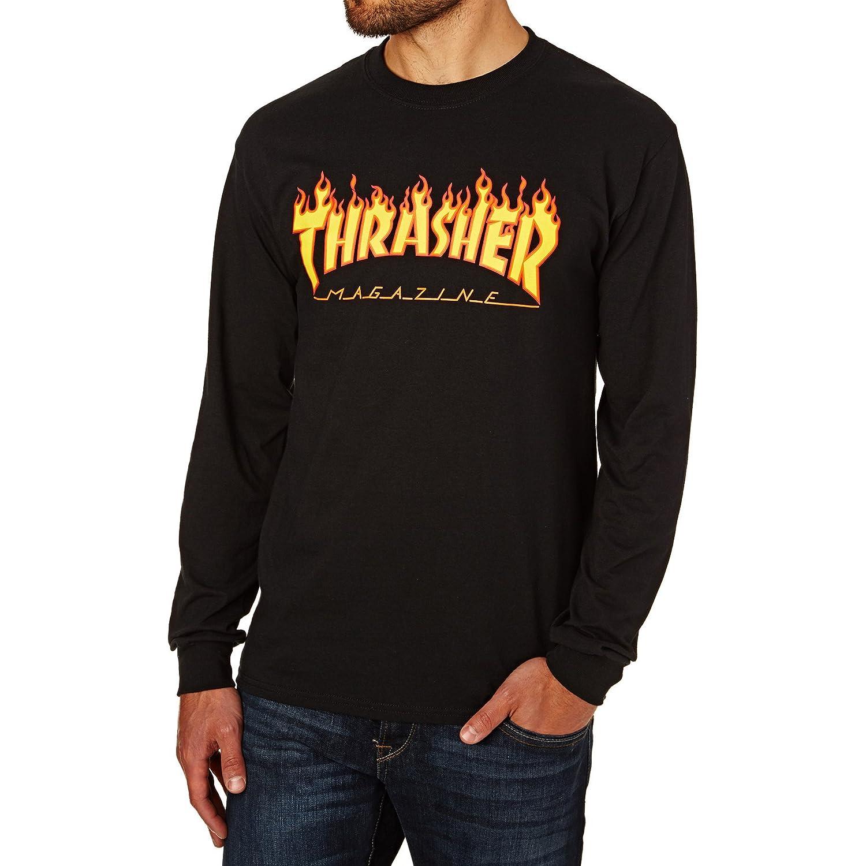 TALLA L. THRASHER Flame Logo' Longsleeve Tee. Black.
