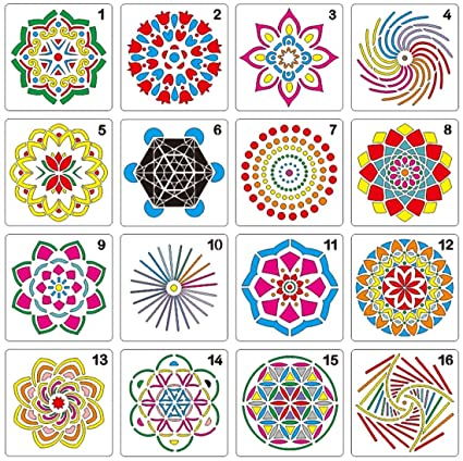 16 Pack Mandala Dotting Stencils Different Patterns Mandala Dotting Painting Stencils For Stone Wall Art Canvas Wood Furniture Painting