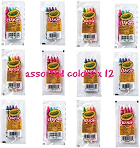 Crayola 4 Pack Full Size Crayons Party Favors Bundle of 12 -4 Packs Mixed Colors - Every 4 Pack Might be Different Includes Glitter Crayons neon Colors Pastel Colors and Many More