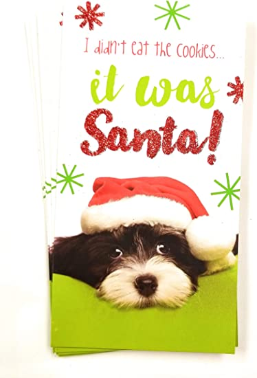 Santa Dog Set of 8 with Metallic//Glitter Accents Christmas Money or Gift Card Holder Cards