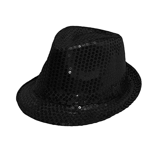 Trilby HAT Black Sequin Fedora HAT 1920 S Gangster Fancy Dress Dance Show  Unisex Accessory Mens OR 4f96ce52c7d