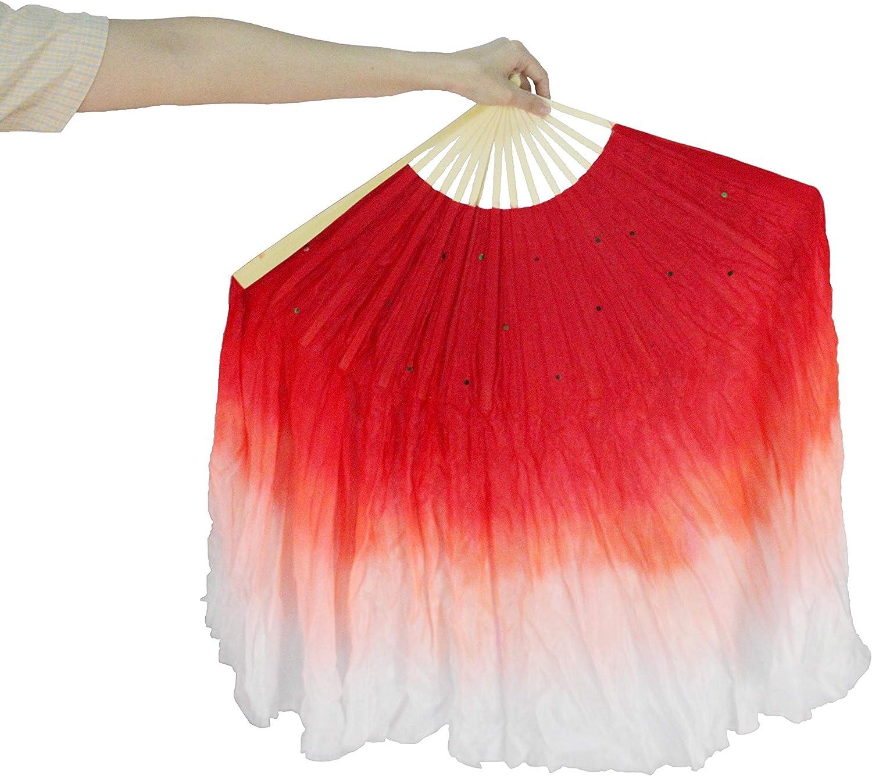 FixtureDisplays Red /& White Hand Made Belly Dance Silk Bamboo Long Fan Veils 16124-NF