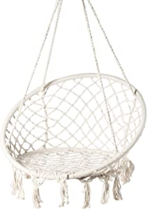 PLAYBERG Round Hanging Hammock Cotton Rope Macrame Swing Chair for Indoor and Outdoor, White