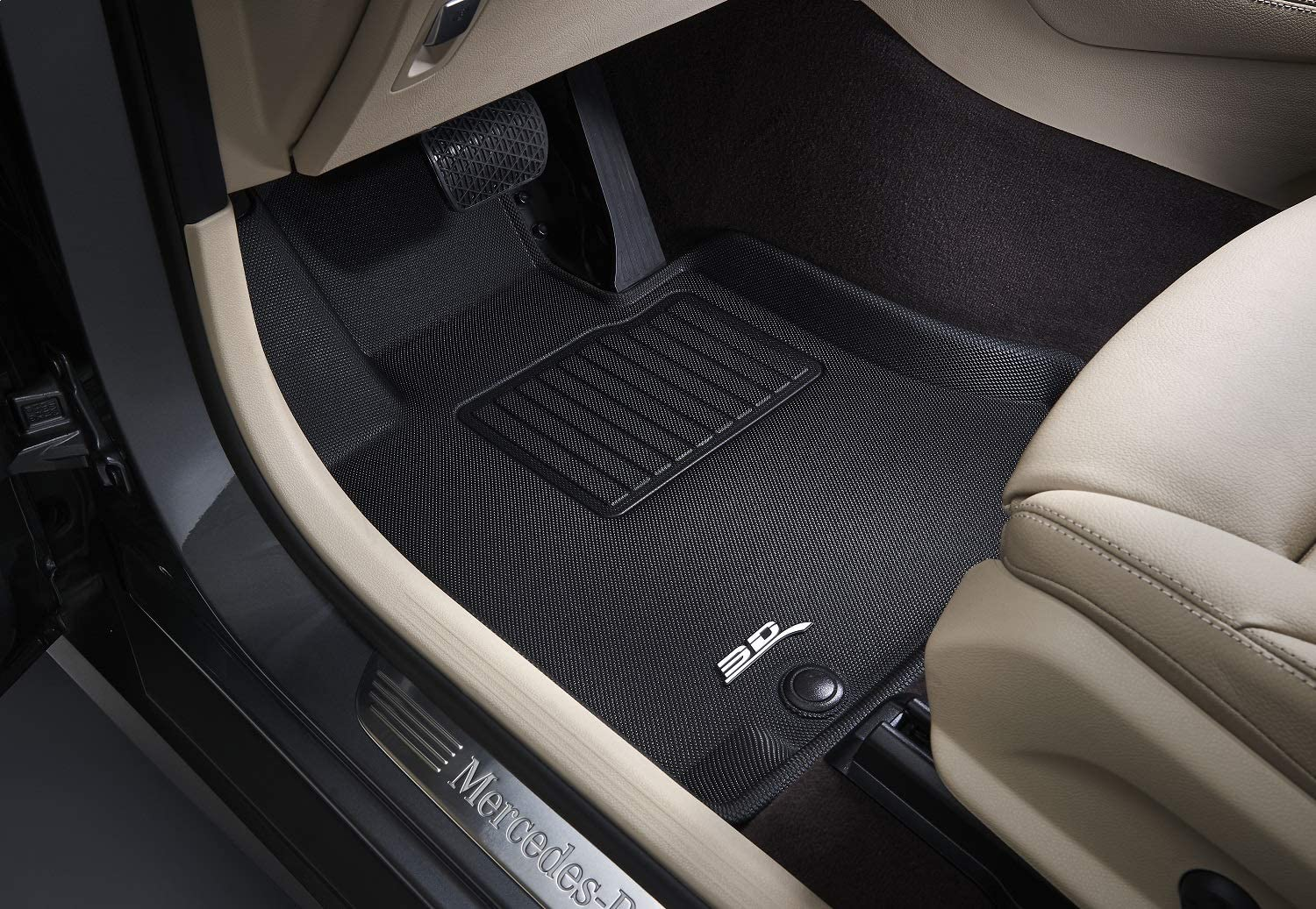 Tan Kagu Rubber 3D MAXpider Front Row Custom Fit All-Weather Floor Mat for Select Kia Stinger AWD Models