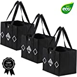 """Reusable Grocery Bags by Eliza Huntley - Roomy Shopping Bags - Set of 3-13"""" X 11"""" X 10"""" - Sturdy - Stand by Themselves - Heavy Duty Fabric-Reinforced, Removable Bottom - Collapsible - Charcoal Gray"""