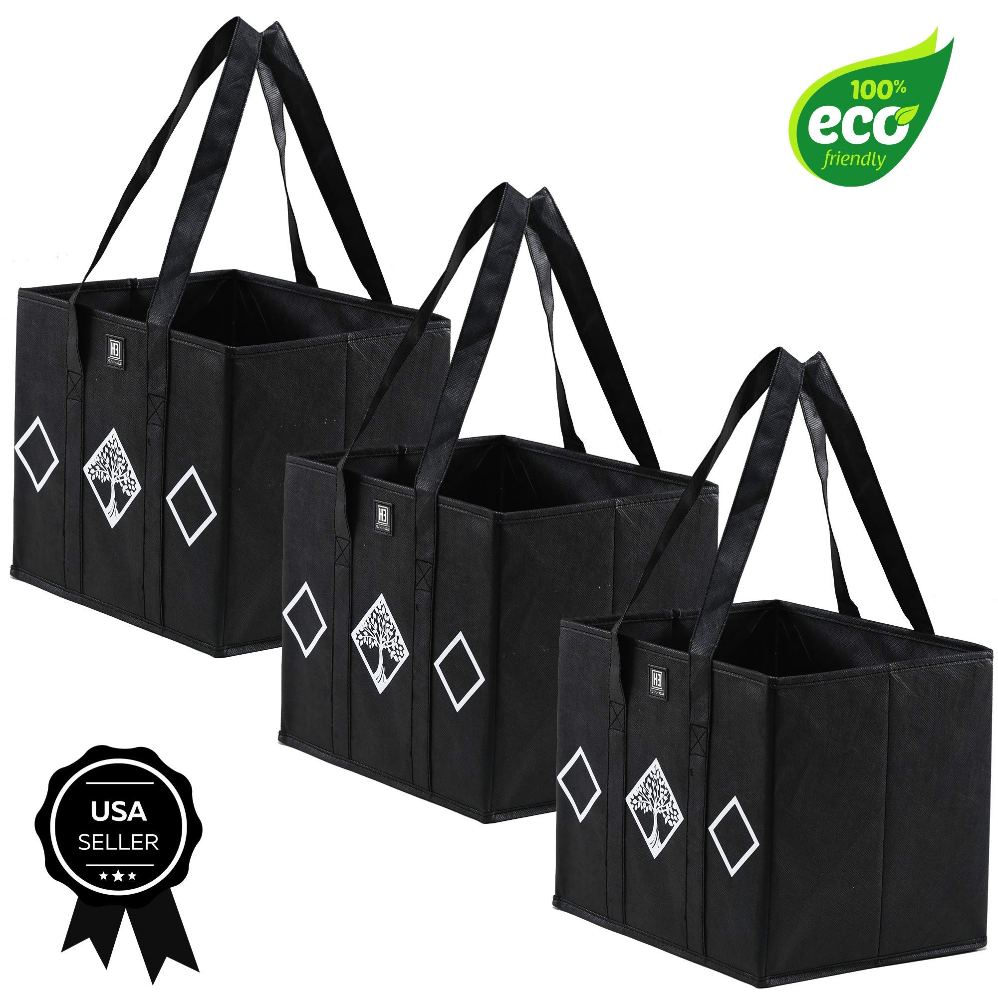 Reusable Grocery Bags by Eliza Huntley – Roomy Shopping Bags – Set of 3-13″ X 11″ X 10″ – Sturdy – Stand by Themselves – Heavy Duty Fabric-Reinforced, Removable Bottom – Collapsible – Charcoal Gray