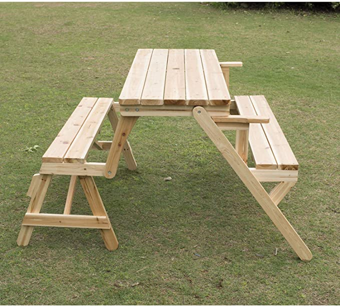 Outsunny Patio 2 In 1 Outdoor Interchangeable Picnic Table/Garden Bench Wood : Sports & Outdoors - Amazon.com