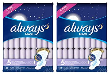Always Maxi, Size 5, Extra Heavy Overnight Pads with Flexi-Wings, Unscented