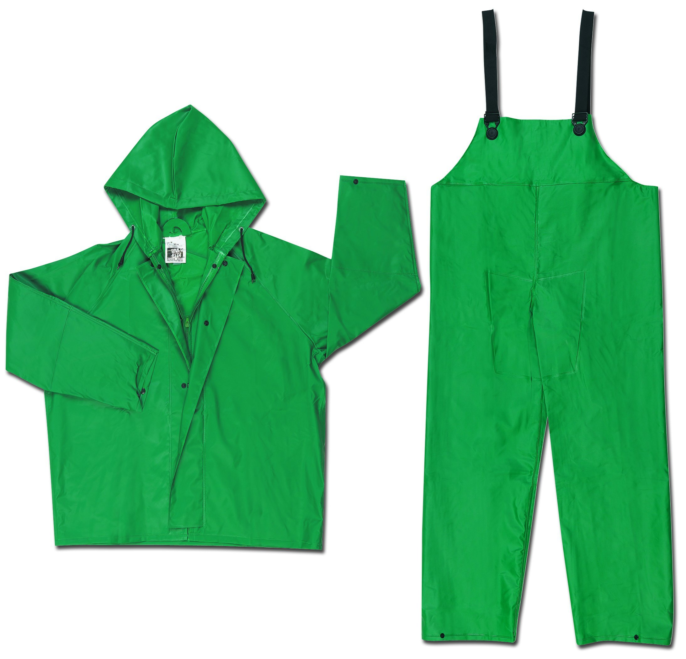 MCR Safety 3882X7 Dominator PVC/Polyester 2-Piece Rainsuit with Attached Drawstring Hood, Green, 7X-Large by MCR Safety (Image #1)