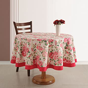 ShalinIndia Round Floral Print Tablecloth   70u0026quot; Cotton Table Cloth