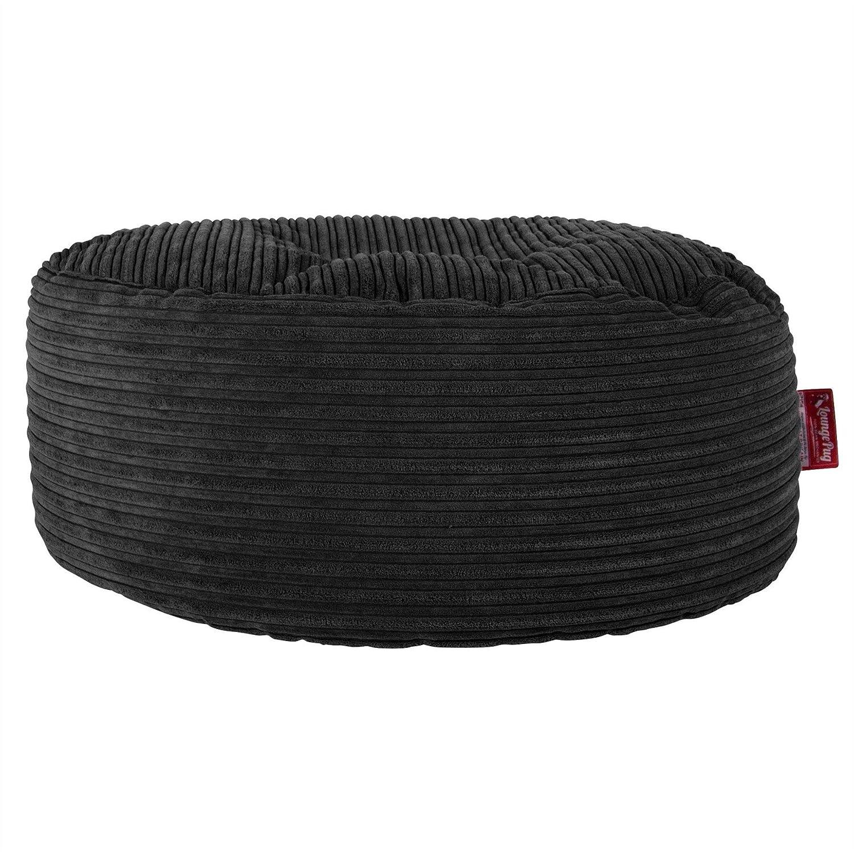 Lounge Pug - CORD - Large Hassock POUFFE - Footstool - Round - BLACK - (Size 30cm H x 65cm Dia) Lounge Pug Bean Bags
