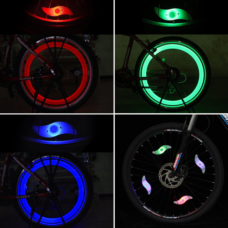 Tagvo 4pcs luz de radiodifusión de la bici (rojo + verde + azul + Multicolor