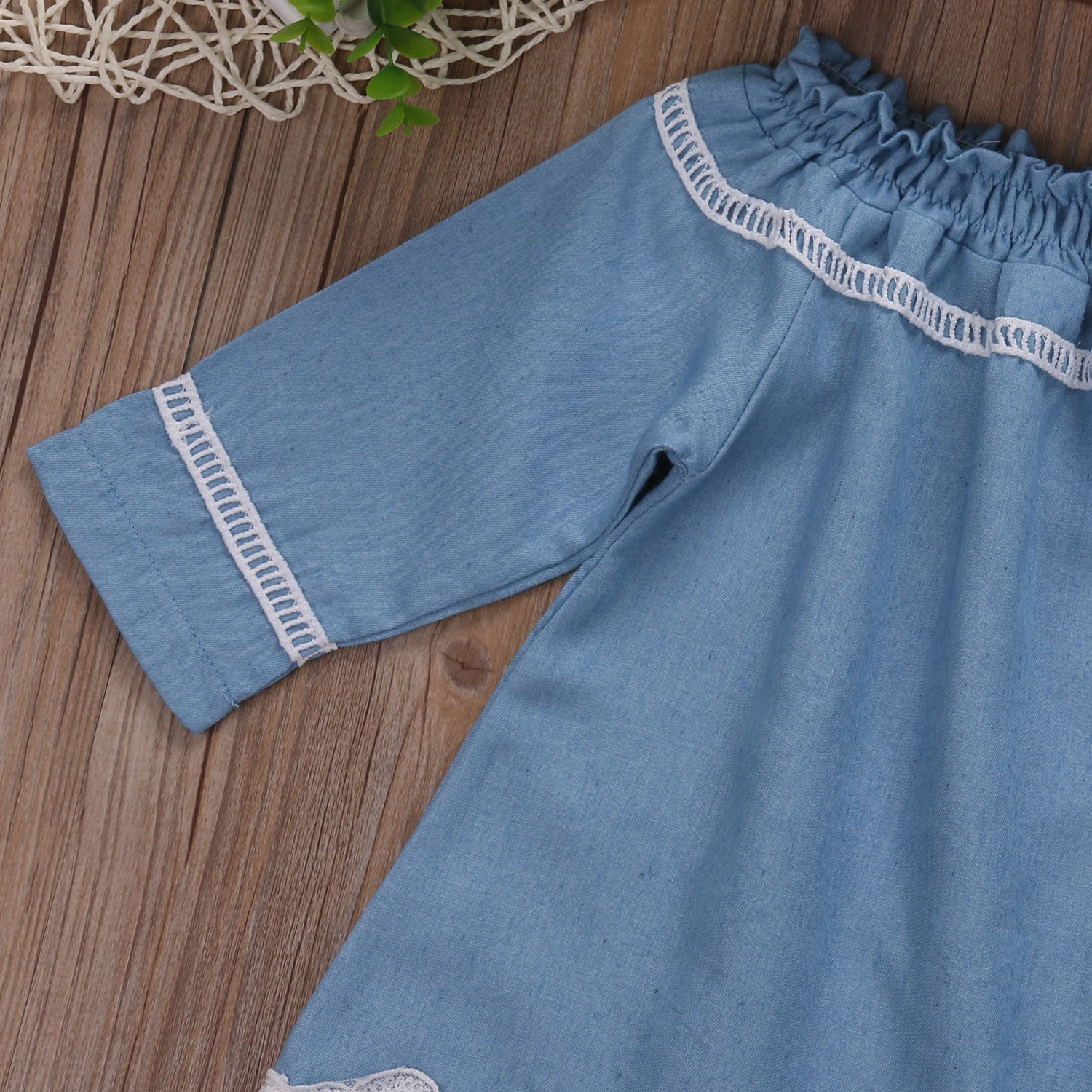 Toddler Baby Girls Denim Off The Shoulder Long Sleeve Lace Princess Dresses Clothes Outfits