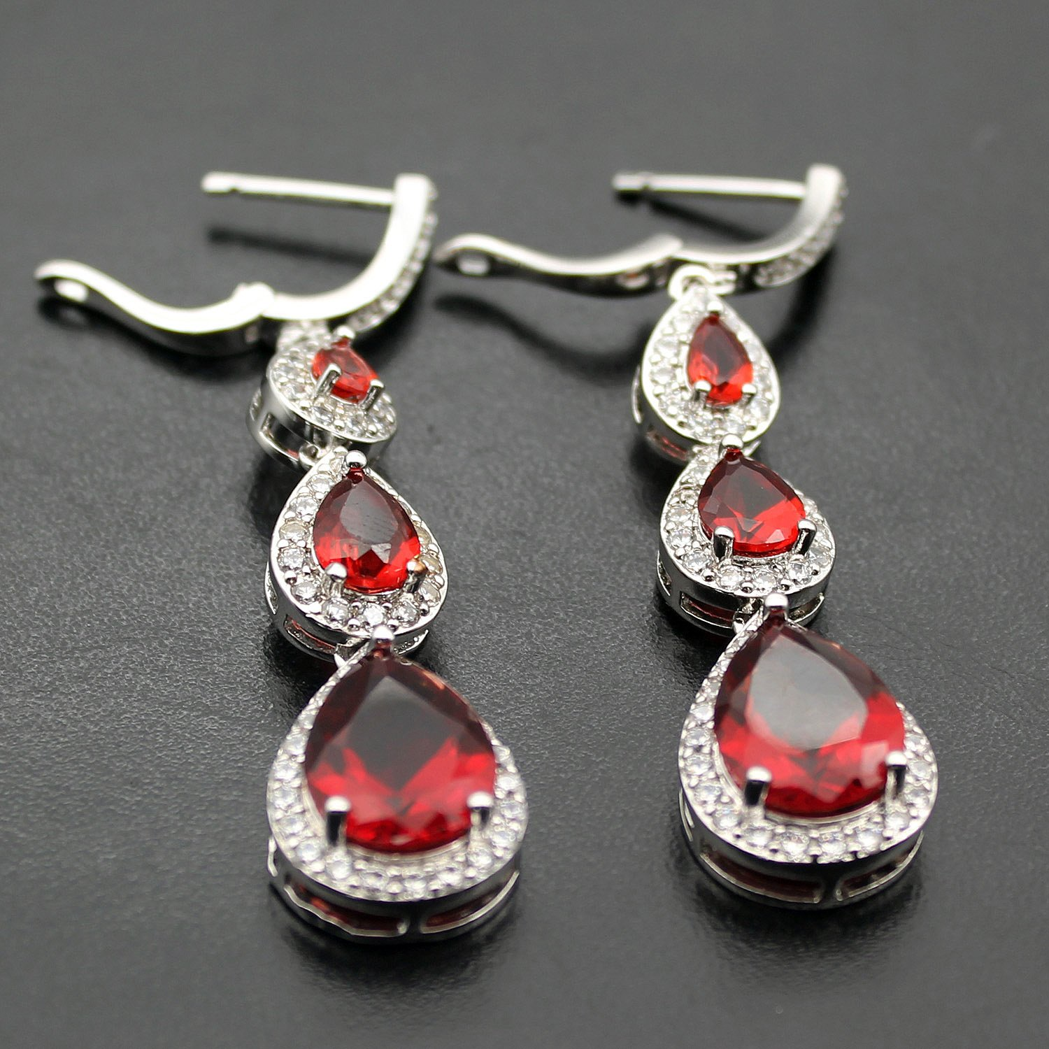 Hermosa Garnet Citrine White Topaz Necklaces Earrings Bracelets Plated Silver Fashion Jewelry Combination Packages (Garnet Earrings) by Hermosa (Image #3)