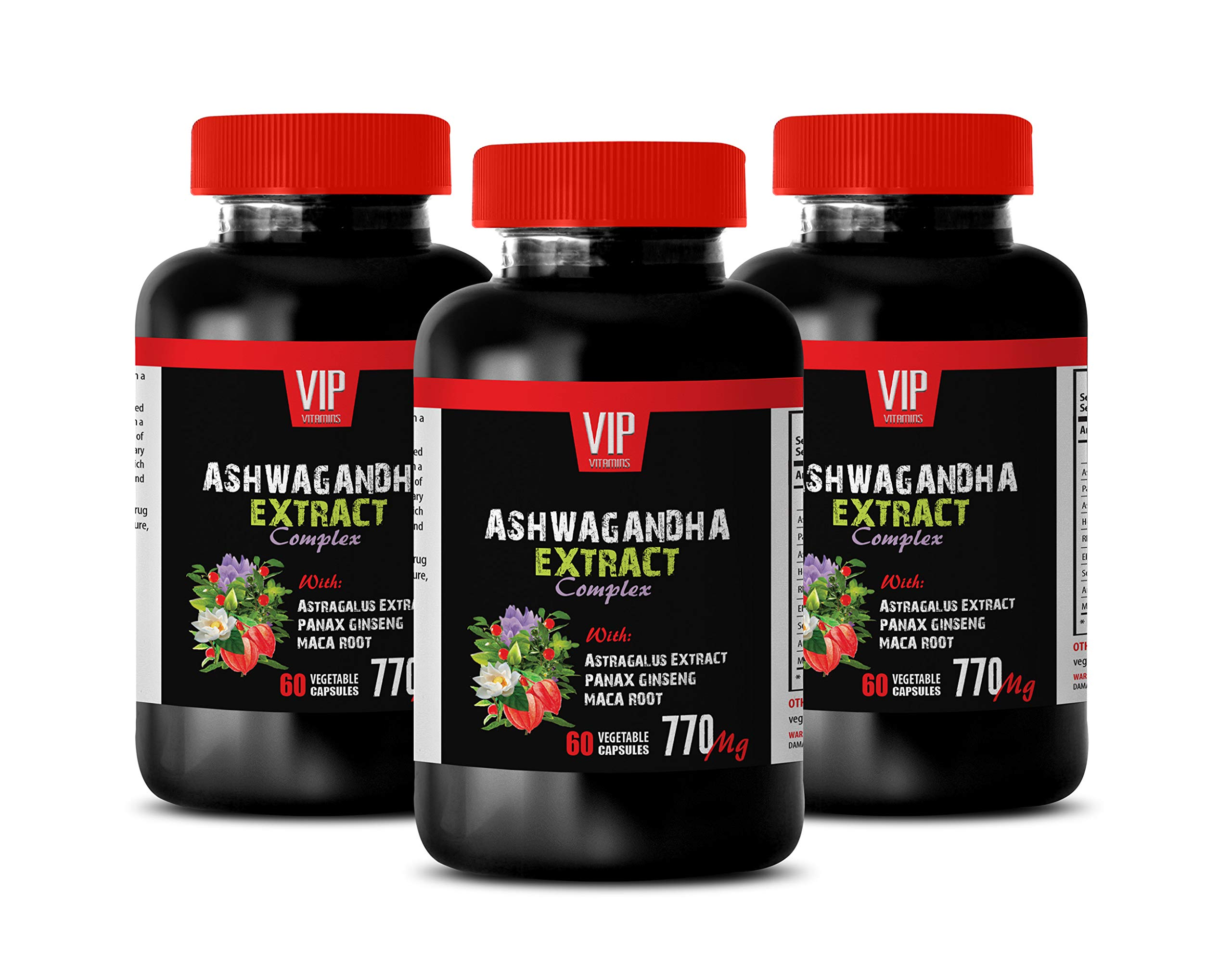 Brain Vitamins Memory for Adults - ASHWAGANDHA Extract Complex 770MG with Astragalus PANAX Ginseng MACA Root - ashwagandha multivitamin - 3 Bottles 180 Capsules