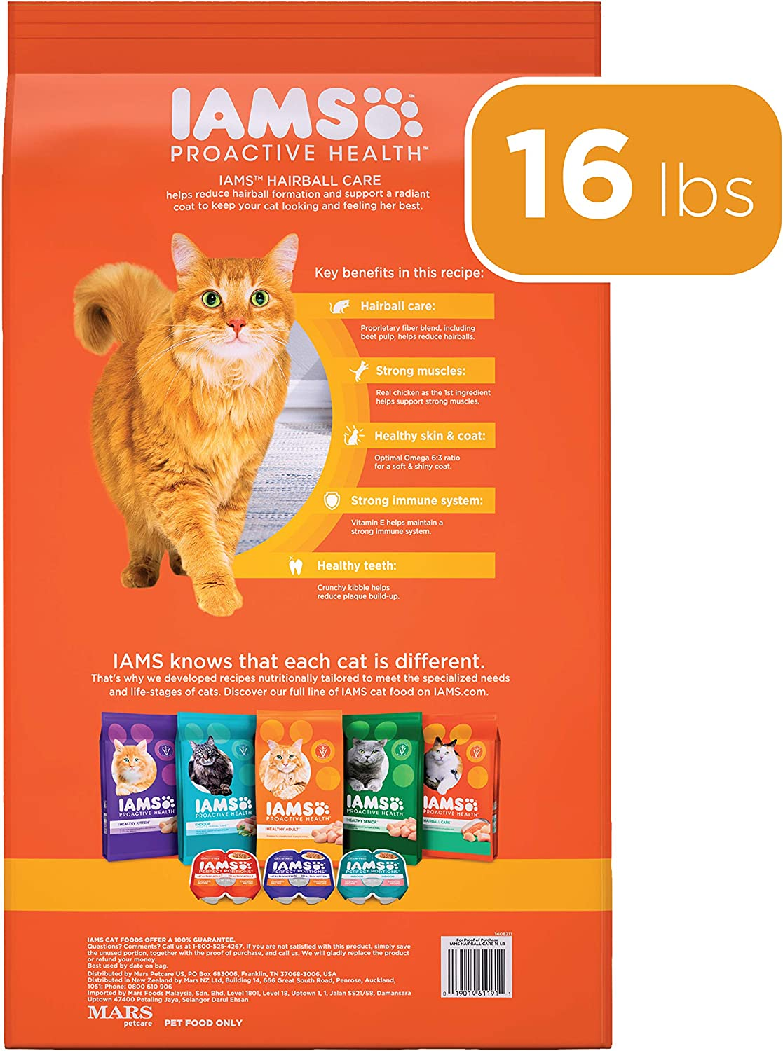 Iams Proactive Health Adult Hairball Care Dry Cat Food With Chicken And Salmon 7 26 Kg Bag 7 26kg Amazon Ca Pet Supplies