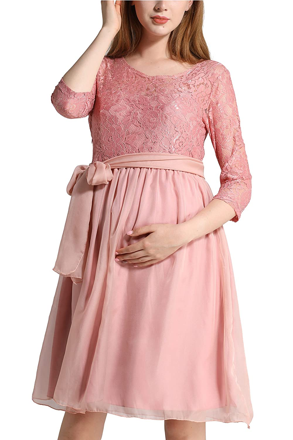 Molliya Maternity Dress Floral Lace Baby Shower Party Cocktail Dress with Ribbon at Amazon Womens Clothing store: