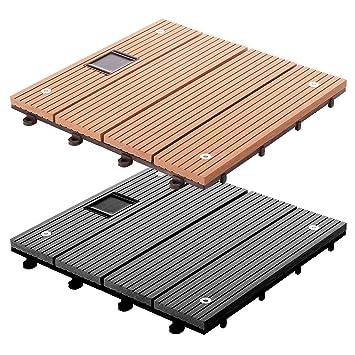 Dalles Terrasse Casa Pura® Timber LED En 2 Coloris | Avec Lumière LED | Set