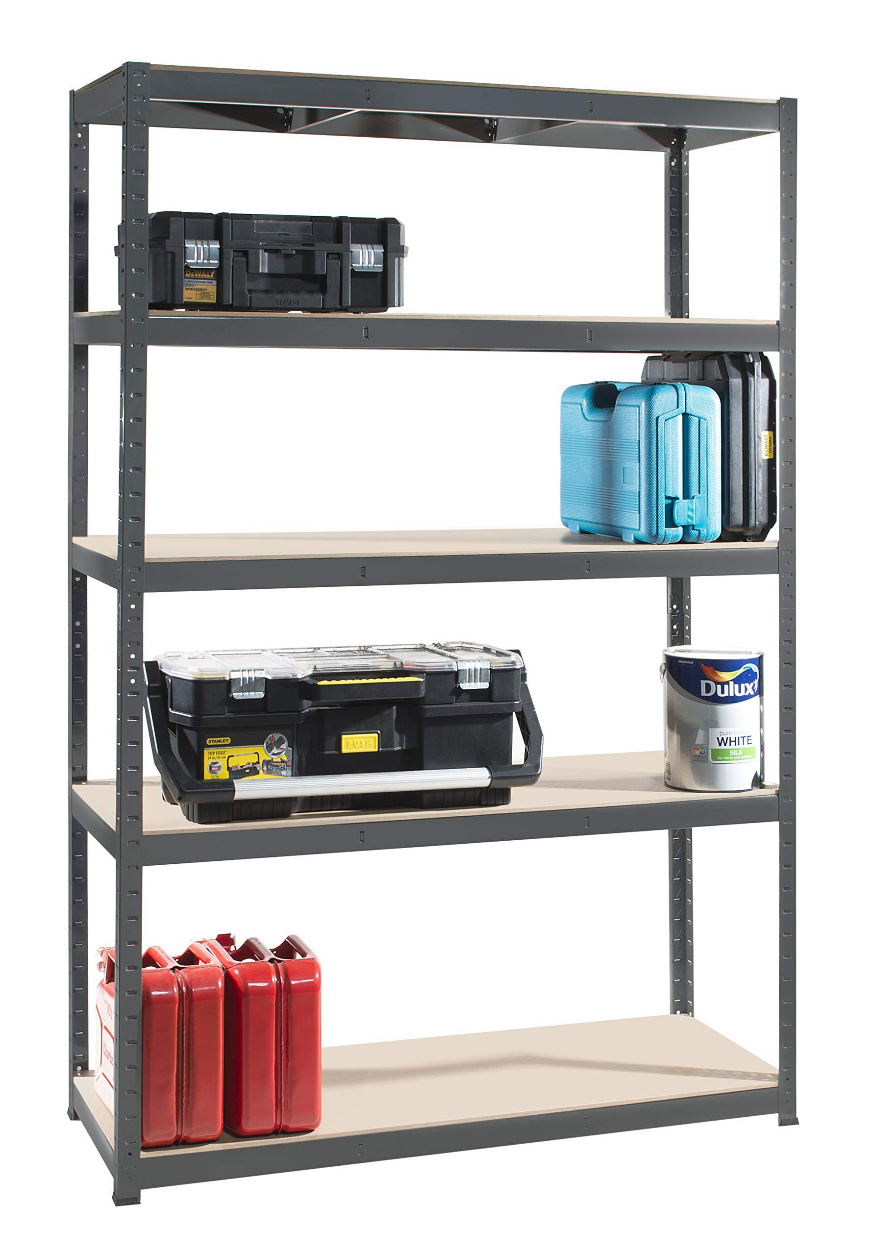 cm 4 Units 5 Tiers 176 High x 90 Wide x 60 Deep | Grey Storage Shelves 265kg UDL Storage Affairs Heavy Duty Garage Shelving Steel Frame Boltless Assembly Metal Racks