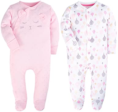 ad19b7330 Amazon.com  YXD Fold Over Footed Baby Girls 2-Pack Pajamas Cotton ...