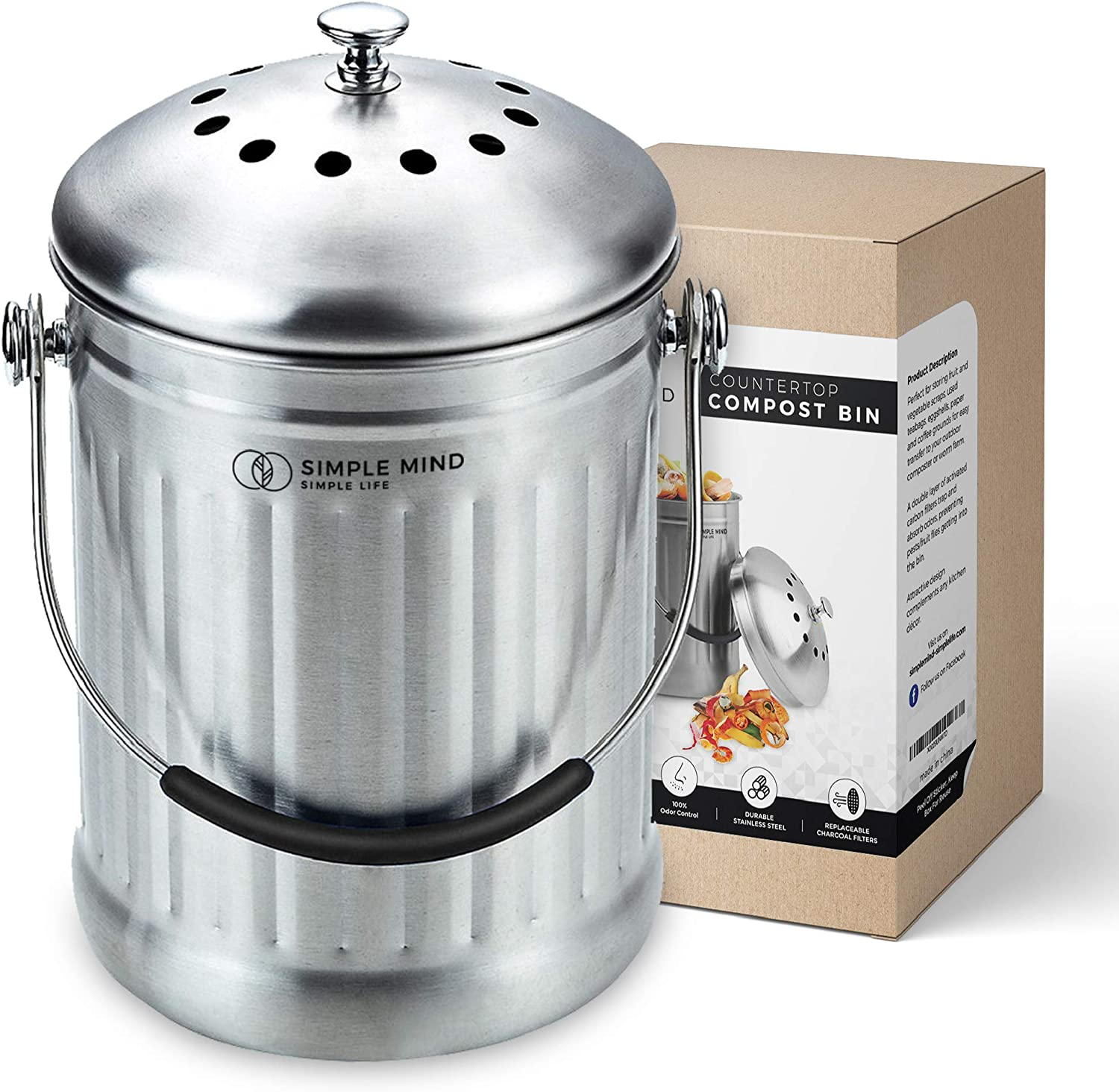 Stylish Countertop Compost Bin, 1.3 Gallon Stainless Steel Compost Bucket, Great Gifts for Gardeners, Compost Trash Can, Small Compost Bin, Compost Pail for Kitchen, Indoor Compost Bucket