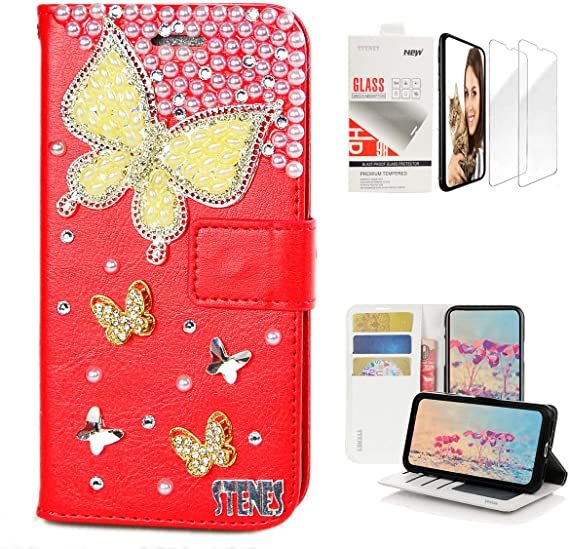 Stylish Red 3D Handmade Bling Crystal Lipstick Girls High Heel Flowers Magnetic Wallet Credit Card Slots Fold Stand Leather Cover for LG V40 // LG V40 ThinQ STENES LG V40 ThinQ Case