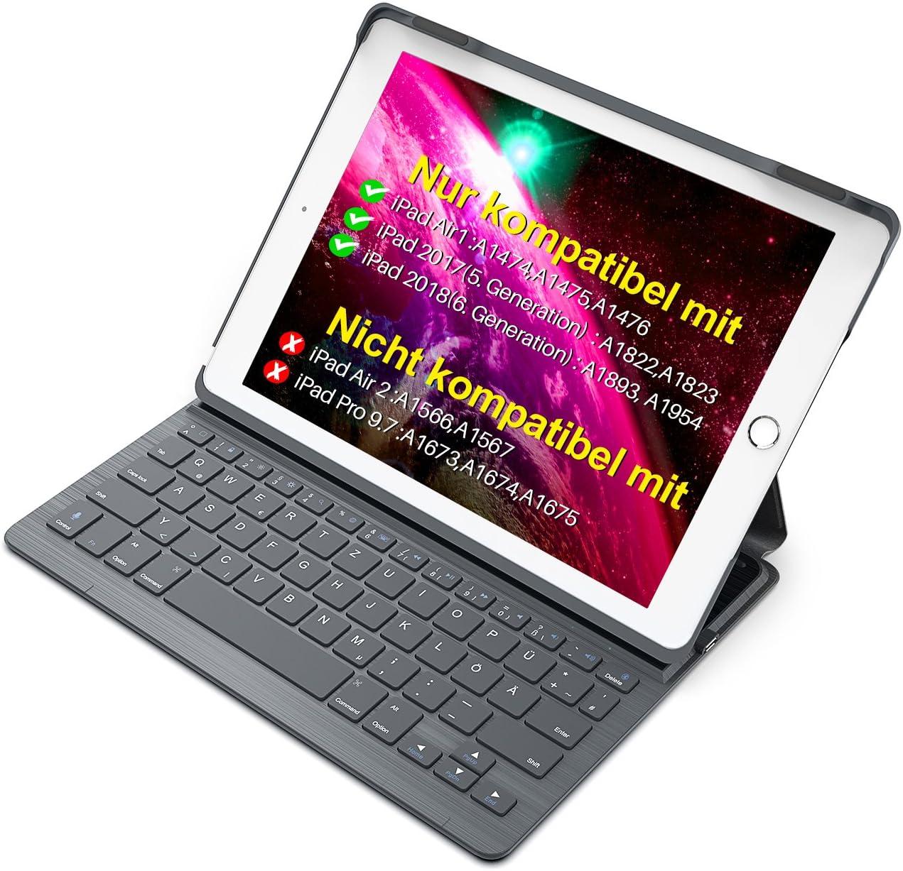 Inateck Funda con teclado y activación automática, función de reposo y soporte de ángulo múltiple (BK2003 DG) para el nuevo iPad y iPad Air1 9.7
