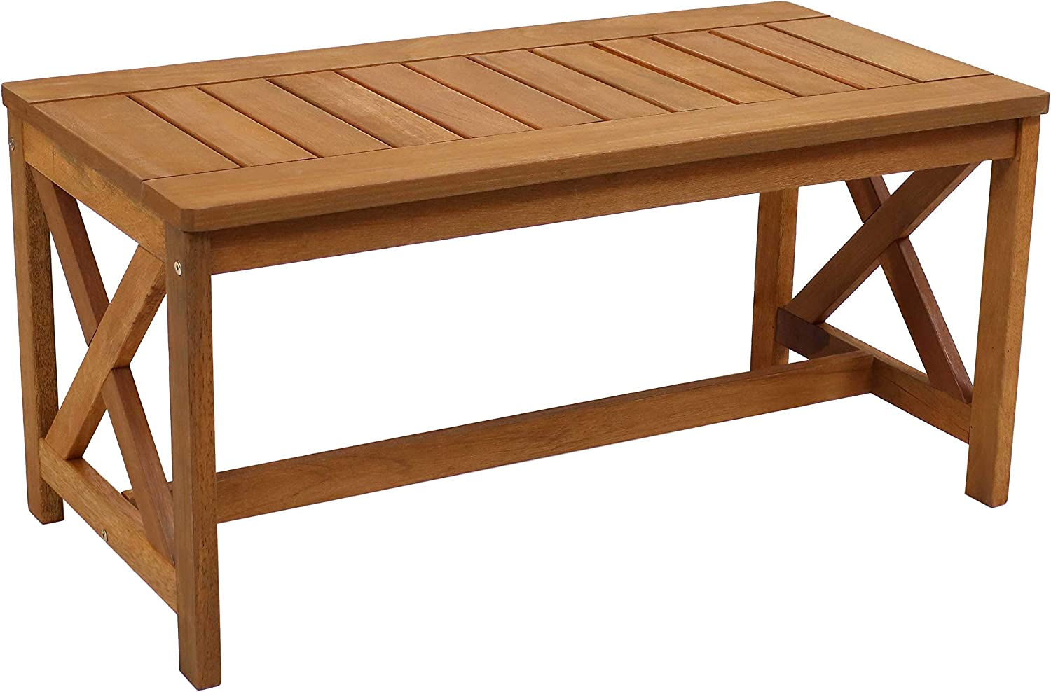 Sunnydaze Meranti Wood Outdoor Patio Coffee Table with Teak Finish - Outside Furniture for Lawn, Garden, Porch, Deck, Balcony, Backyard and Sunroom - Rectangle Table - 35-Inch
