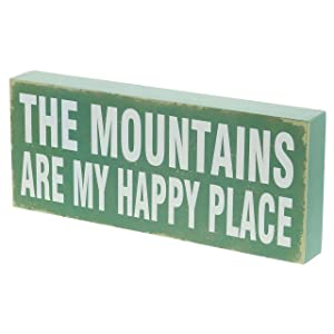 "Barnyard Designs The Mountains are My Happy Place Rustic Vintage Lake Cabin Mountain Home Decor 12"" x 5"""