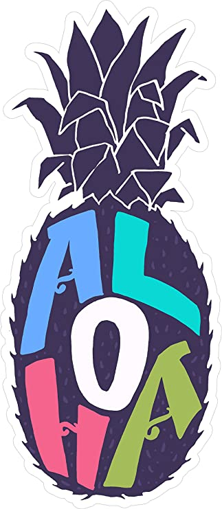 Aloha Pineapple 7x31 Mahalo Hawaii Usa America Symbol Sticker Decal Die Cut Vinyl Made And Shipped In Usa