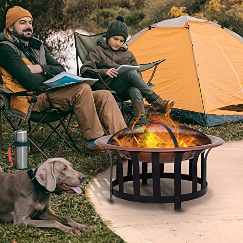 Outsunny Copper-Colored Round Metal Wood Fire Pit Bowl