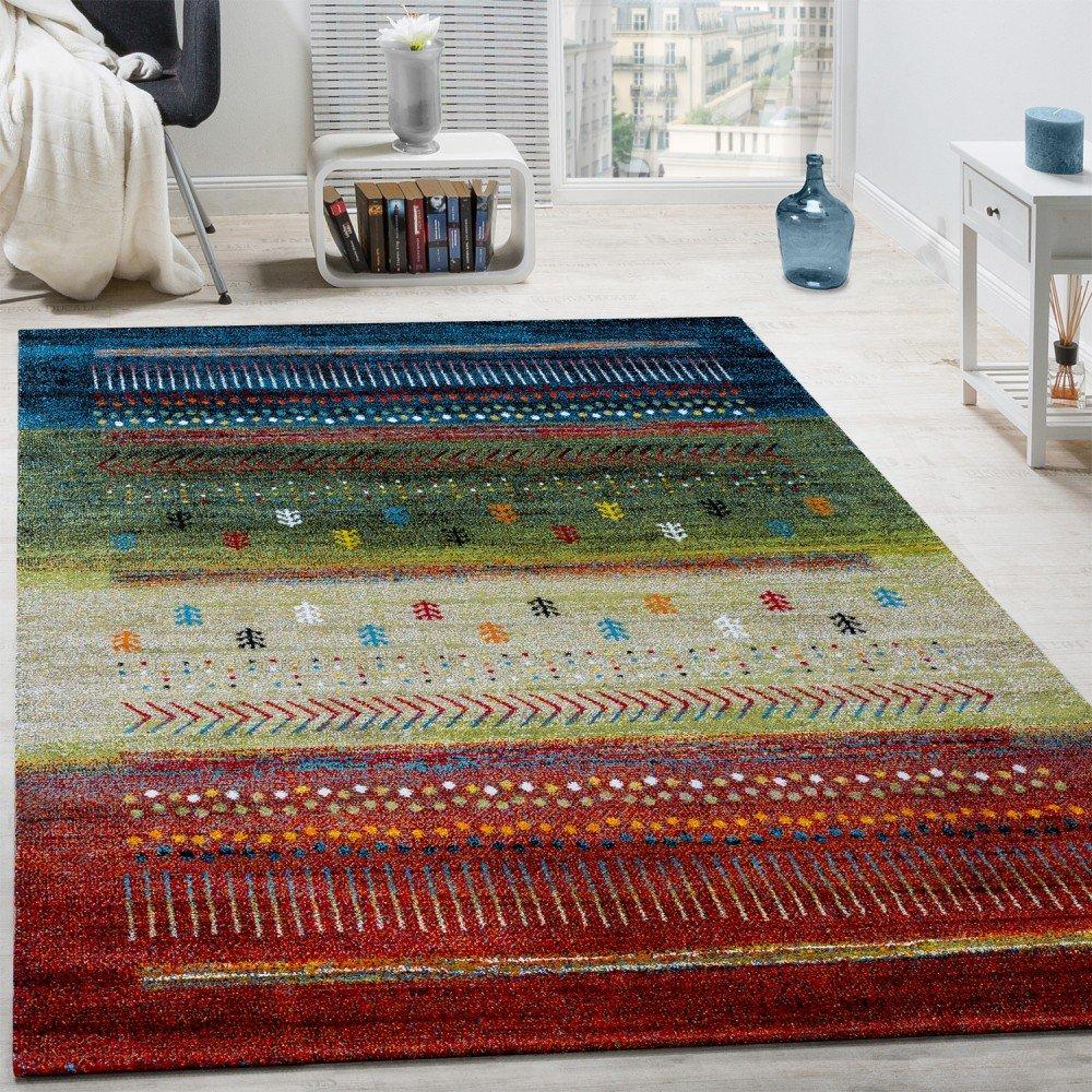 Paco Home Designer Teppich Gabbeh Loribaft Bordüre Nomaden Multicolor Rot Creme Grün Blau, Grösse 160x230 cm