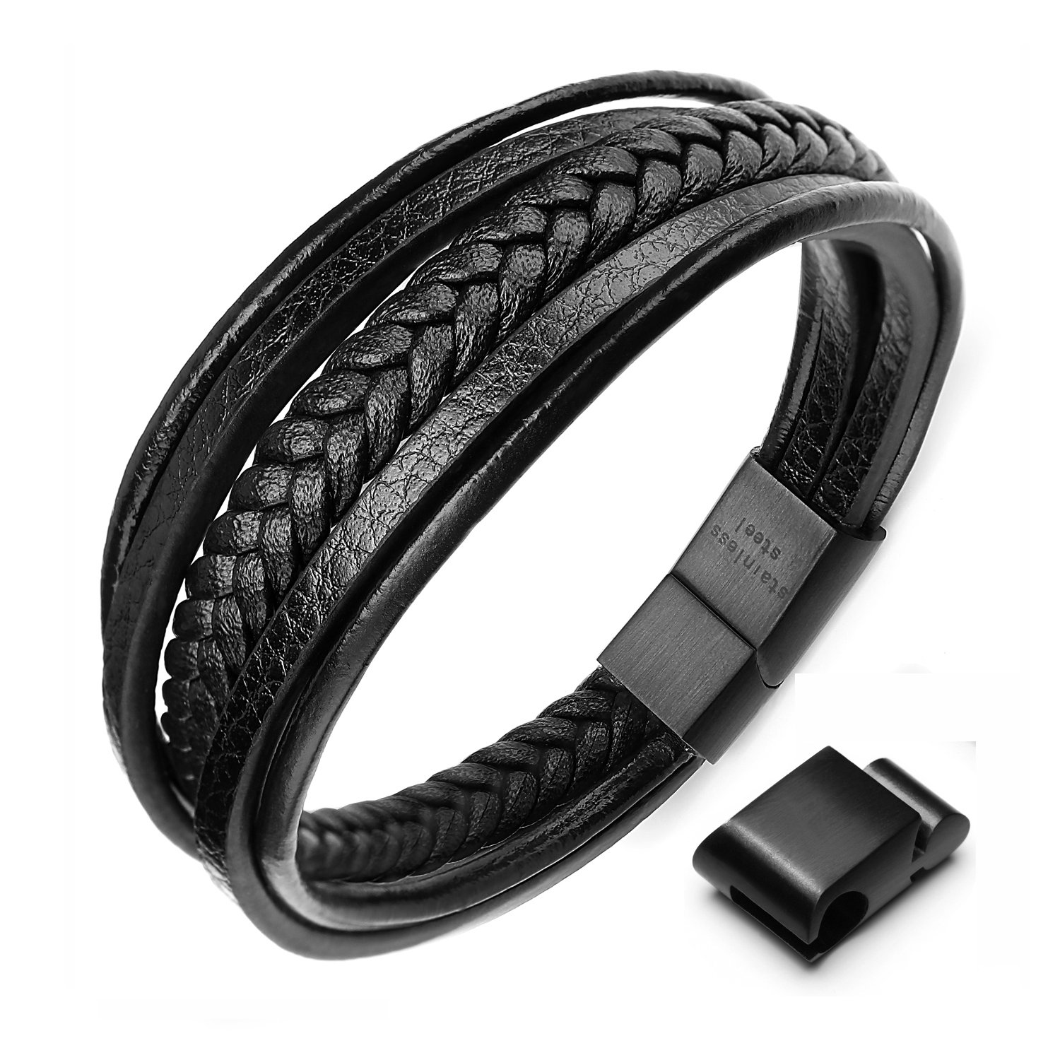 xikeo Leather Bracelet For Men, Mens leather Bracelet Cowhide Braided Multi-layer Wrap Mens Bracelet, 8.7'' 8.7'' (black) BMT170717eu-bl