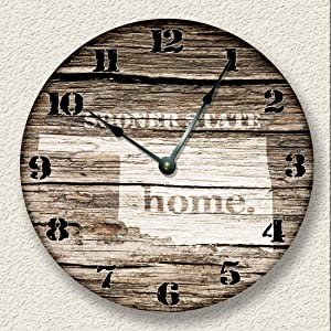 8Jo6Poe Oklahoma Home State Wall Clock Barn Boards Pattern Sooner State Rustic Cabin Country Wall Home Decor