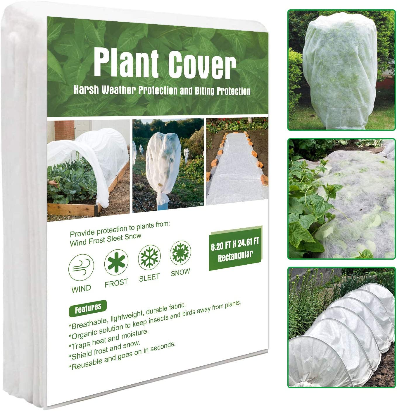 Tikola Plant Cover Freeze Protection 8X24 Ft 1oz Floating Frost Blanket for Winter Row Cover Fabric Vegetable Garden Quilt for Plant Growth Rectangle