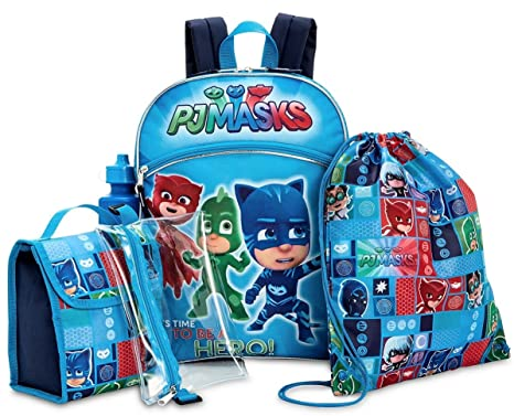 PJ Masks Backpack and Lunch Bag 5 Piece Set