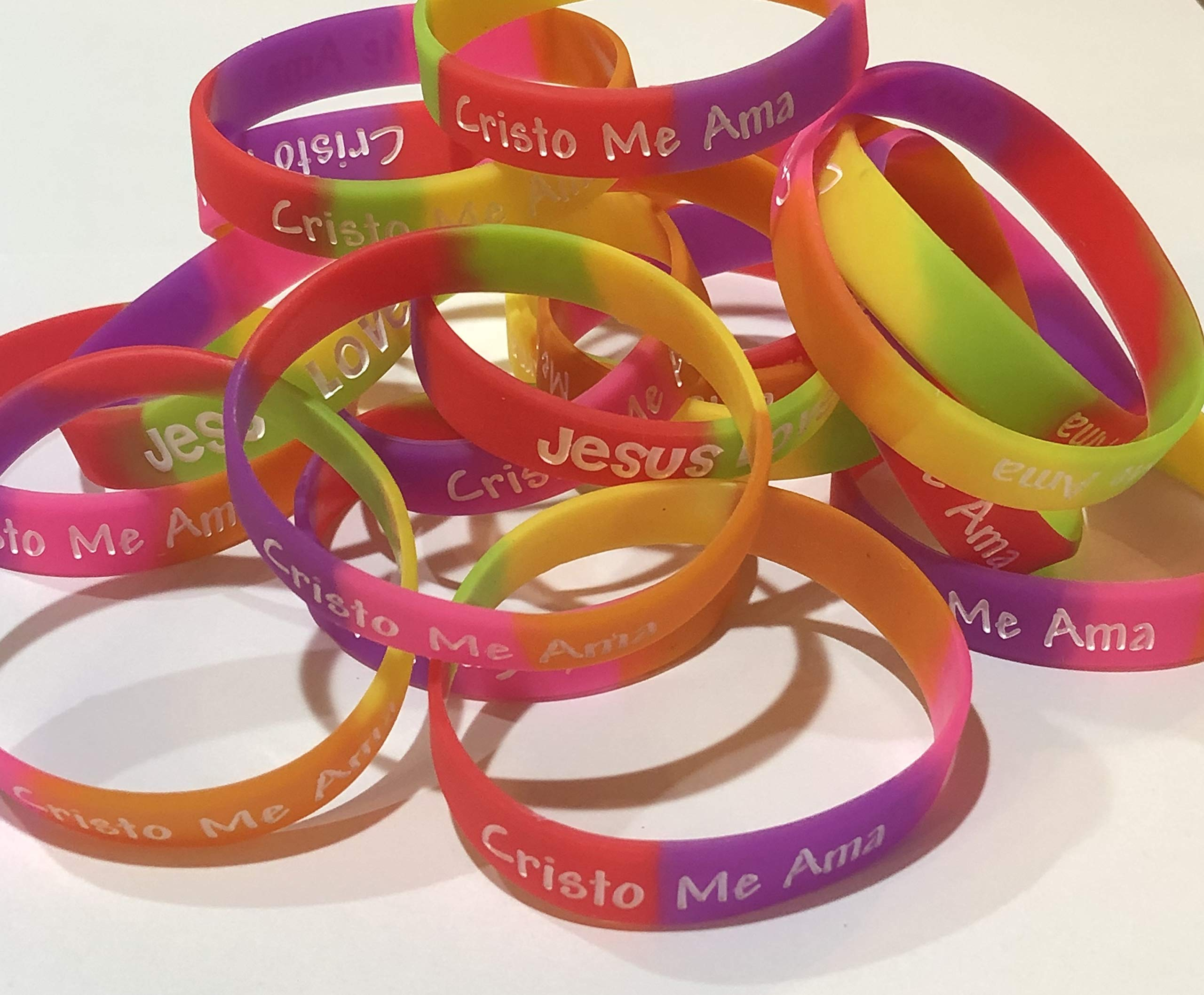 Spanish Youth Jesus Loves Me Christian Rubber Silicone Bracelets for Kids (50 Count)