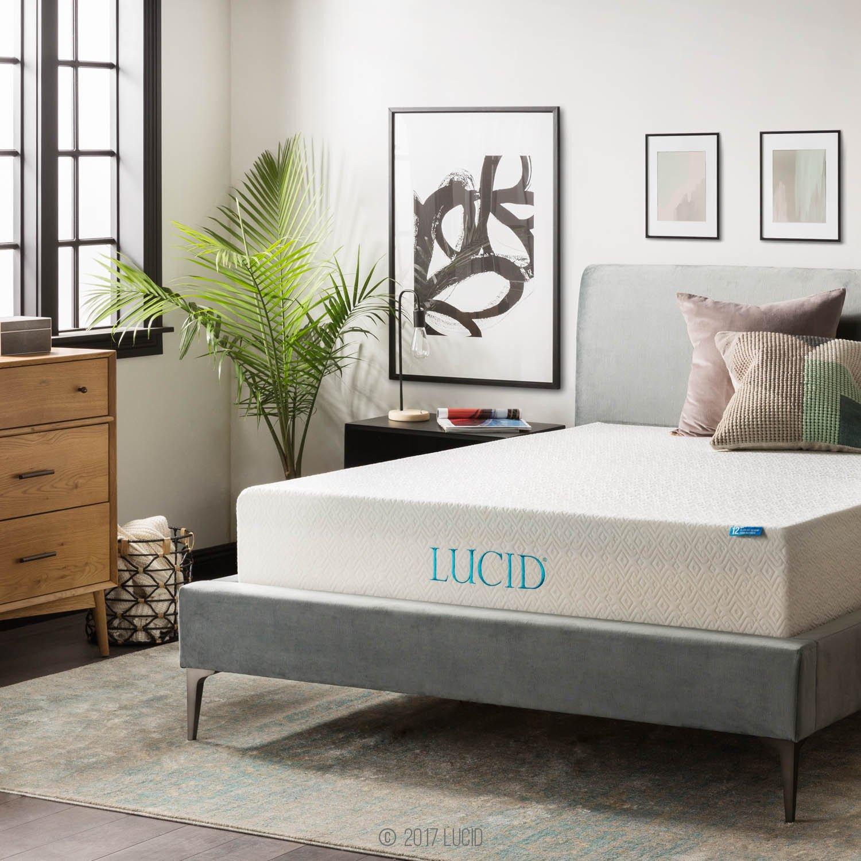 LUCID 12 Inch Gel Memory Foam Mattress - Triple-Layer - Ventilated Gel Foam - CertiPUR-US Certified - 10-Year Warranty - King