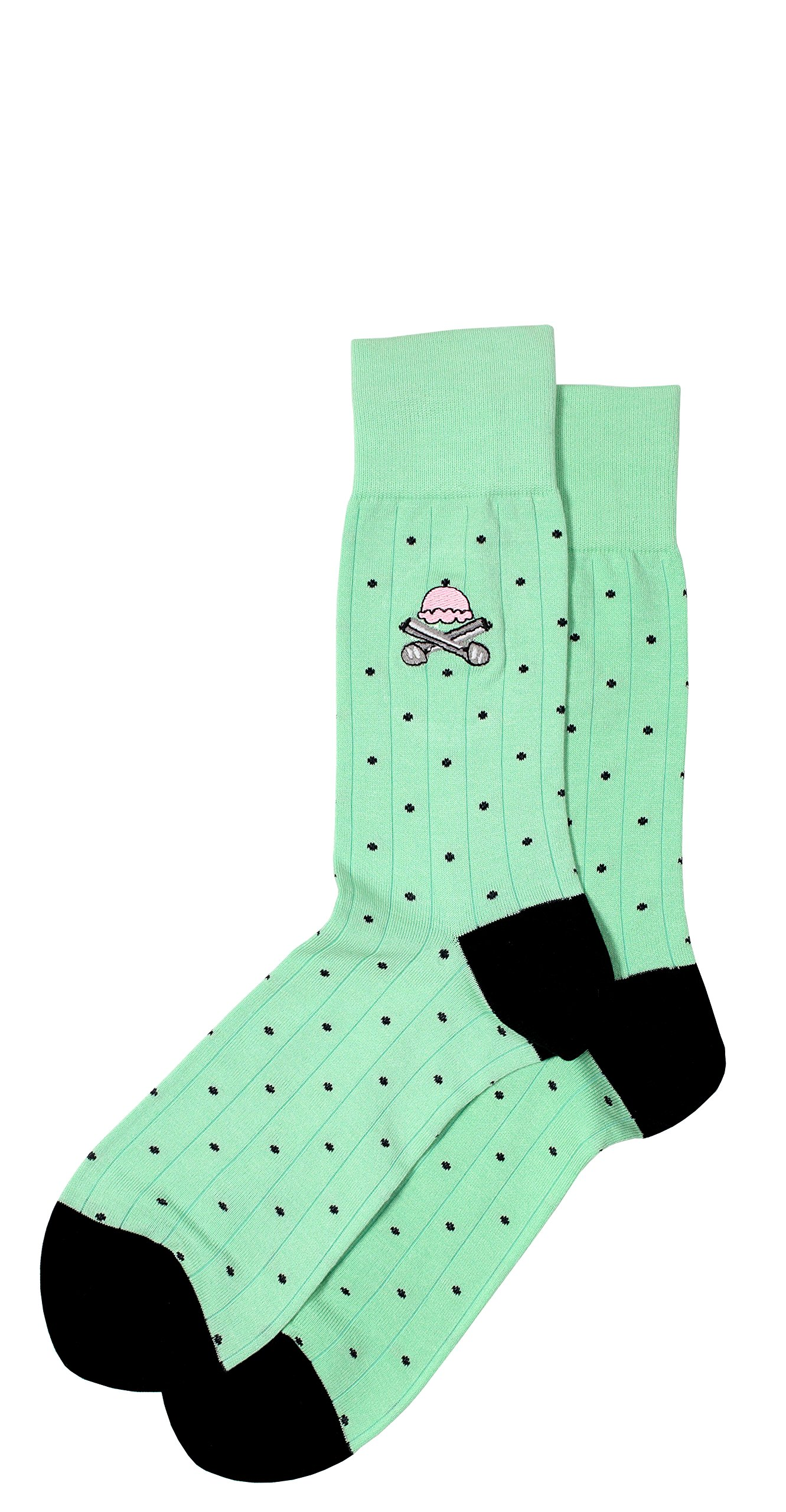 Colorful Mint Men's Pima Cotton Dress Socks with Embroidery, Mid Calf
