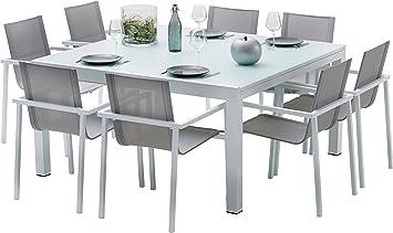 Amazon.de: Gartenmöbel-Set Aluminium weiß und Hartglas 8 Personen