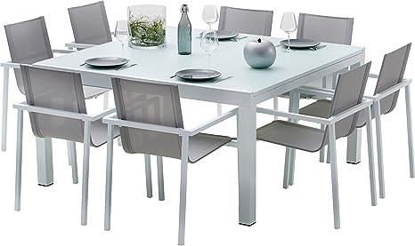 Amazon.de: Gartenmöbel-Set Aluminium weiß und Hartglas 8 ...