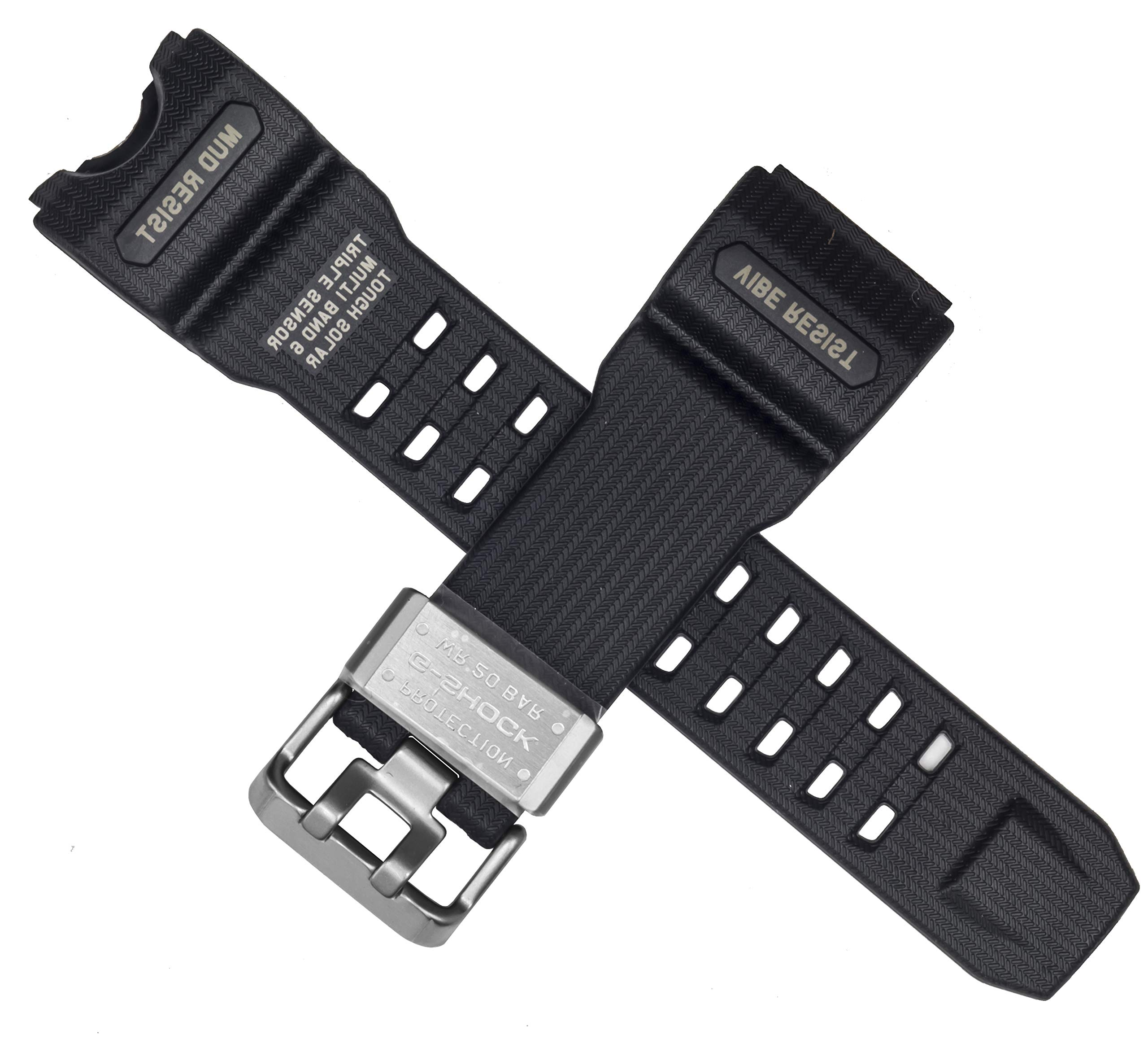 Casio 10504384 Genuine Factory Replacement Black Resin Watch Band fits GWG-1000-1A