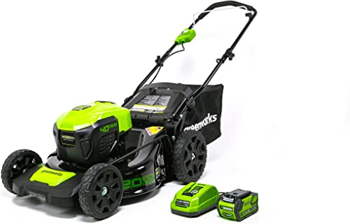 GreenWorks MO40L410 G-MAX 40V 20-Inch Cordless 3-in-1 Lawn Mower with Smart Cut Technology, 1 4Ah Battery and Charger included