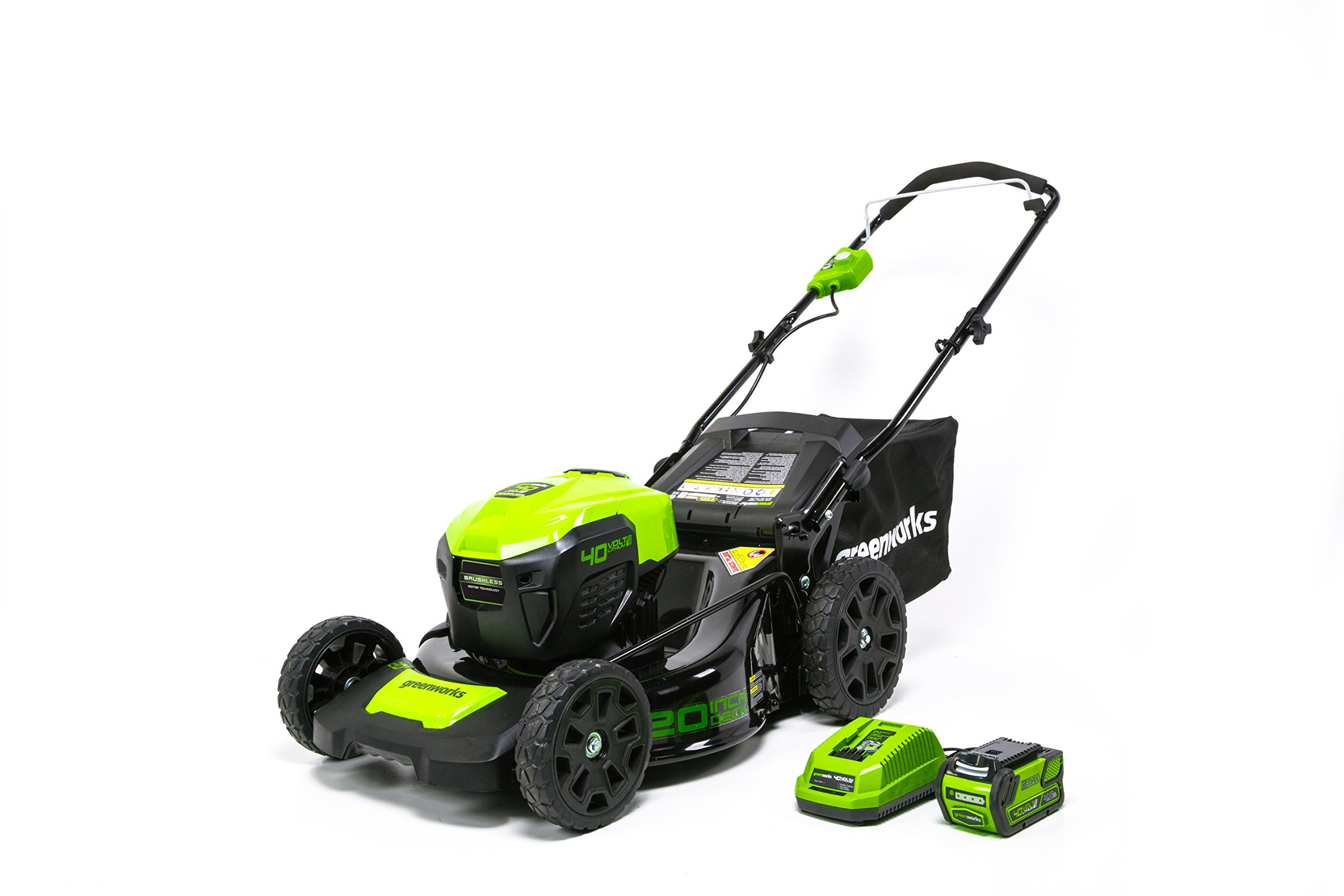 Greenworks g-max 40v 20-inch cordless 3-in-1 lawn mower with smart cut technology, (1) 4ah battery and charger included mo40l410 8 includes (1) max capacity 4 ah - 40v lithium battery , cutting heights - 5 position durable 20'' steel deck lets you mulch, bag, or side discharge allowing you to maintain your yard the way you want it. This lawn mower is not self-propelled innovative smart cut technology automatically increases the speed of the blade when more power is needed