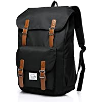Backpack for Men,Vaschy Vintage School Bag Casual Lightweight Camping Rucksack Bookbag with15.6in Laptop Sleeve Black